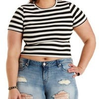 Plus Size Black Combo Ribbed & Striped Crop Top by Charlotte Russe