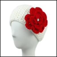 White Earwarmer with Red Flower