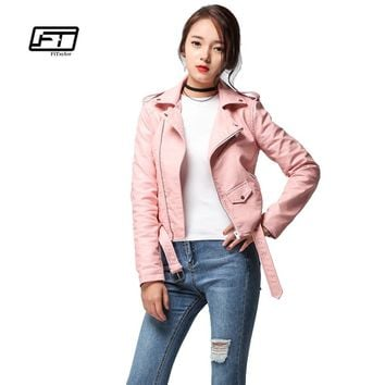 Fitaylor 2018 Spring Autumn Women Faux Soft Leather Jacket Long Sleeve Pink Biker Coat Zipper Design Motorcycle PU Red Jacket