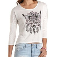 Ivory Rhinestone Skull Graphic High-Low Tee by Charlotte Russe