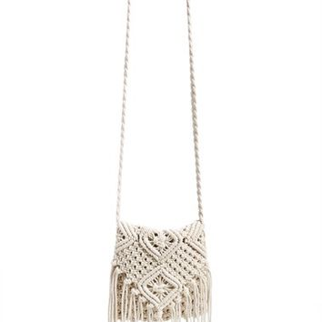 Junior Women's Street Level Crochet Crossbody Bag - Ivory