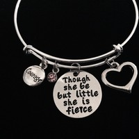 Though She Be But Little She is Fierce Jewelry Adjustable Charm Bracelet Courage Expandable Silver Wire Bangle Gift Trendy