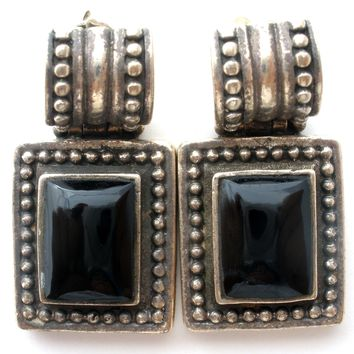 Antiqued Black Onyx Earrings Sterling Silver