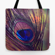 purple peacock feather  Tote Bag by Sylvia Cook Photography