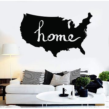 Vinyl Wall Decal USA Map Living Room Decoration Stickers Mural Unique Gift (ig3706)