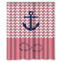 """60""""(width)x72""""(length)Chervon with Anchor and Quotes funny 100% polyester shower curtain"""
