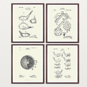 Golf Poster - Inventions of Golf Print Set - Golf Art - Golf Clubs - Golf Balls - Golf Bag - Golf Wall Art - Golf Patent - Vintage Golf Art