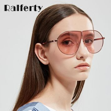 Ralferty Oversized Sunglasses Women 2017 Luxury Brand Transparent Pink Sun Glasses UV400 Goggles Big Colored Eyewear Clear X1312