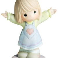 """Precious Moments, Mother's Day Gifts, """"I Love You This Much"""", Girl, Bisque Porcelain Figurine, #4001668"""