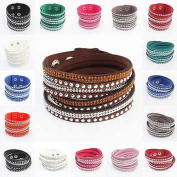 Leather Wrap Wristband Cuff Punk Crystal Rhinestone Bracelet Bangle