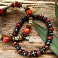 Wooden Coconut Bead Mens Surfer Bracelet Set Hippie Beach Indie Hipster Festival