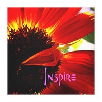 """Inspire"" Quote Red Orange Daisy Close-up Photo Canvas Print"