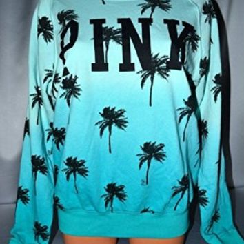 Victoria's Secret Pink Palm Tree Off The Shoulder Slouchy Crewneck Sweatshirt X-SMALL