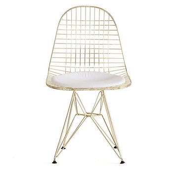 Modern Gold Reproduction DKR Eiffel Wire Chair