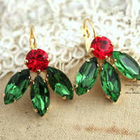 Swarovski Green and Red Christmas gift for a woman Crystal Rhinestone earrings - 14k plated gold earrings real swarovski rhinestones