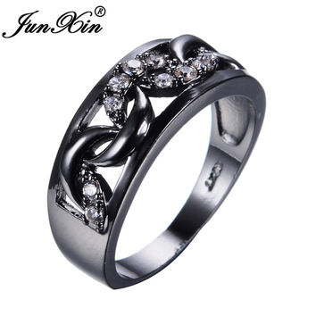 JUNXIN Unique Moon Style AAA White Zircon Rings For Women Men Black Gold Filled  Wedding Party Finger Ring Best Friend Gift