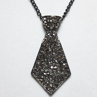 "Black Tie Focal Necklace Black Silver Rhinestone Tie Pendant 2"" x 1"" Pendant Everyday Minimalist Jewelry"