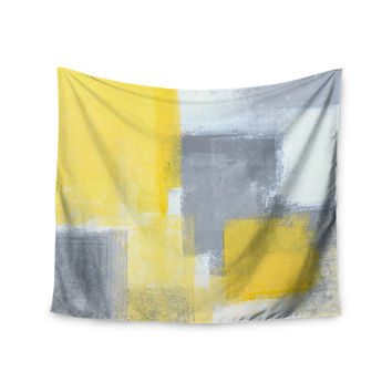 "CarolLynn Tice ""Steady"" Yellow Gray Wall Tapestry"