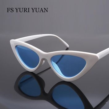 FS YURI YUAN Triangle Small Size Frame Cat Eye Sunglasses Cool Women UV400 2017 New Fashion Ocean Film Sun Glasses 9 Colour