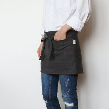 Linen cafe apron/ Charcoal grey short apron/ Natural linen apron