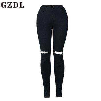 GZDL Vintage Women Summer Basic Denim Hole Mid Jeans Female Black White Fitness Skinny Casual Slim Fit Pencil Jeans Pants CL3749