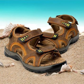 ac ICIK83Q Men Leather Sandals Summer Permeable Casual Anti-skid Beach Shoes Velcro [10209401804]