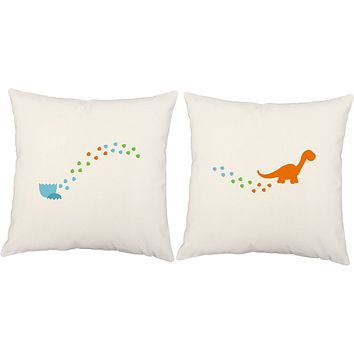 Baby Dino Tracks Throw Pillows