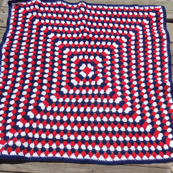 Crochet Baby Blanket, Red, White and Blue Baby Blanket, Patriotic Blanket , Baby Afghan, Photo Prop