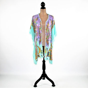 Hippie Clothes Boho Clothing Festival Kimono Beach Cover Up Kaftan Caftan Rayon Paisley Floral Print Mint Purple Bohemian Clothing for Women
