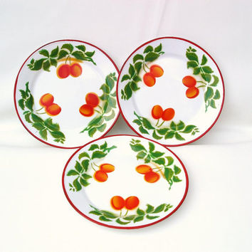 Enamelware Plates, Graniteware, Set of 3, Metal Kitchen Decor, Red Orange / Green