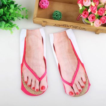 3D Printed Low Cut Ankle Socks Women Flip Flops Slates Winter Pretend Wear Printing Art Cotton Unisex Novelty Casual Sock