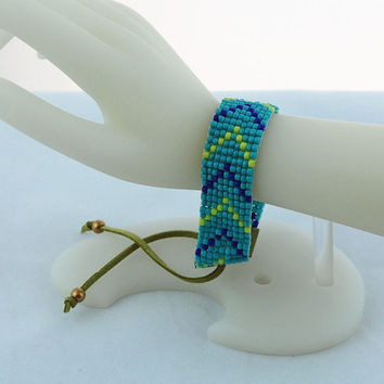 Cobalt Blue, Lime Green and Turquoise Chevron Pattern Hand Bead Loomed Bracelet, Seed Bead Bracelet, Tribal Stackable Cuff Bracelet