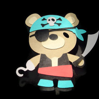 Teddy Bear Pirate, Cards for Children, Kids Cards, Pirate Card, Teddy Bear Card