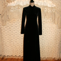 Long Sleeve Maxi Dress Long Black Dress 90s Black Velvet Dress Grunge Dress Goth Gothic High Neck Size 6 Size 8 Small Medium Womens Clothing