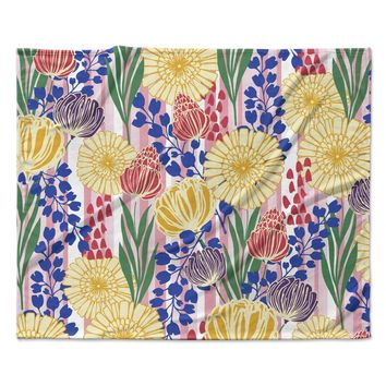 "Amy Reber ""Pretty Bouquet"" Yellow Floral Fleece Throw Blanket"
