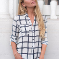Lauri White/Navy Button Down Shirt