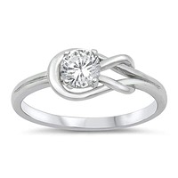 Sterling Silver Love Knot Cubic Zirconia Ring