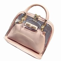 Clear Bags Candy Color Women Leather PVC Purses Handbags Chain Shell Transparent