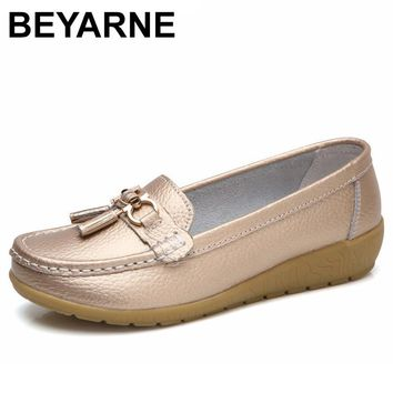 BEYARNE 2018 Spring Autumn Shoes Woman Cow Leather Flats Women Slip On Women's Loafers Female Moccasins Shoe Large Size 35-41