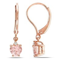 1 Carat Morganite & Diamond Heart Earrings Pink in Sterling Silver