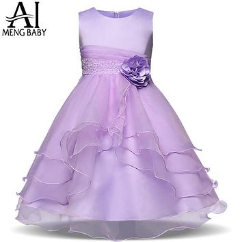 Flower Wedding Dress Kids Evening Dresses Teen Girl Party Dress Graduation Prom Gown Children Clothing Girl
