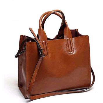Leather Trunk Tote Spanish Shoulder Bags
