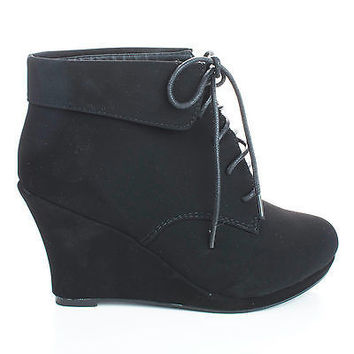 Max35 Round Toe Lace Up Ankle Cuff Wedge Heel Booties