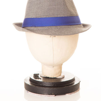 Deux Par Deux Grey Houndstooth Fedora with Blue Petit Gentleman Boys Hat