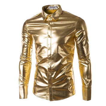 Night Club Men Dress Shirt Men's Shining Shirts Light Golden Festival Brilliant Men Shirt Long Sleeve Plus Size 3XL PA086