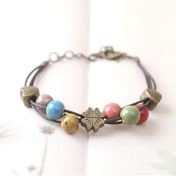 Women Natural Stone Boho Lucky Bracelet