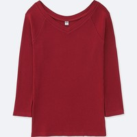 WOMEN RIBBED BALLET NECK 3/4 SLEEVE T