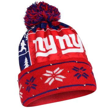 New York Giants Big Logo Light Up Printed Beanie Knit Cap