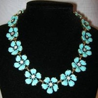 Vintage Blue and Rhinstone Flower Necklace - Necklaces & Pendants