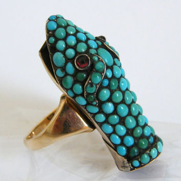 Antique-RARE-Gold/Turquoise/Ruby-Snakes Head/Serpent Mourning Ring-circa 1867